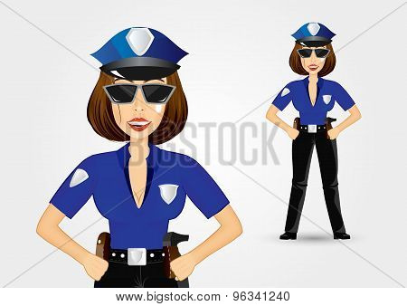 beautiful strict policewoman holding hands on hips