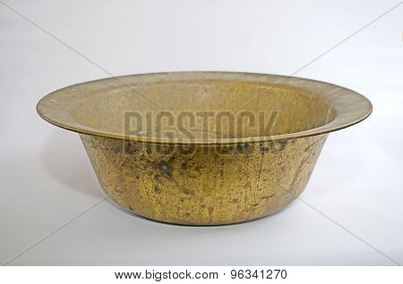 Old vintage cooper round pan isolated on white background