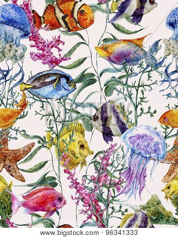 Watercolor sea life seamless background, underwater watercolor illustration