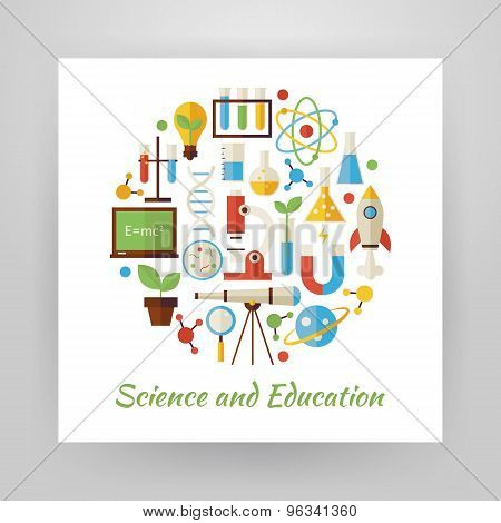 Flat Style Circle Vector Set Of Science And Education Objects Over White Paper