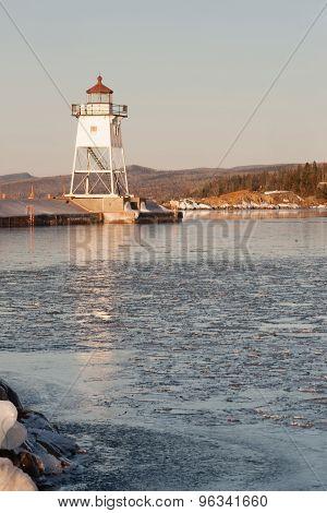 Morning Light Harbor Breakwater Lighthouse Lake Superior Minnesota Usa