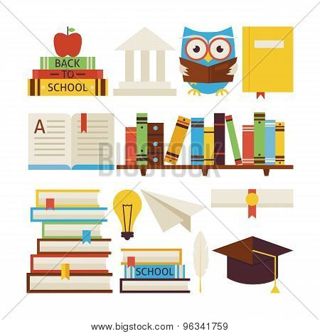 Flat Style Vector Collection Of Books Education And Knowledge Objects Isolated Over White