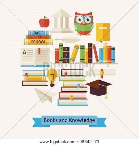 Vector Flat Style Books Education And Knowledge Objects Concept