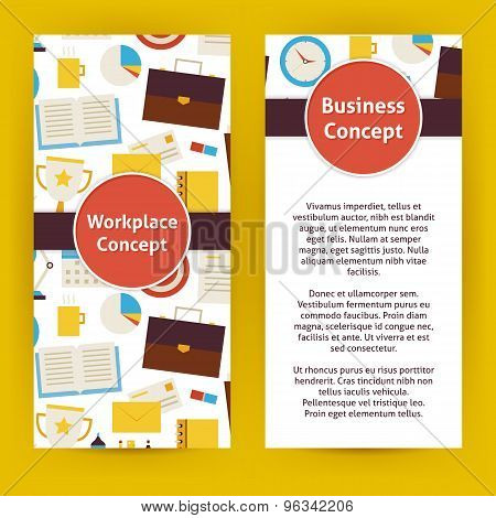 Vector Flyer Template Of Flat Design Business Workplace Concept Objects And Elements