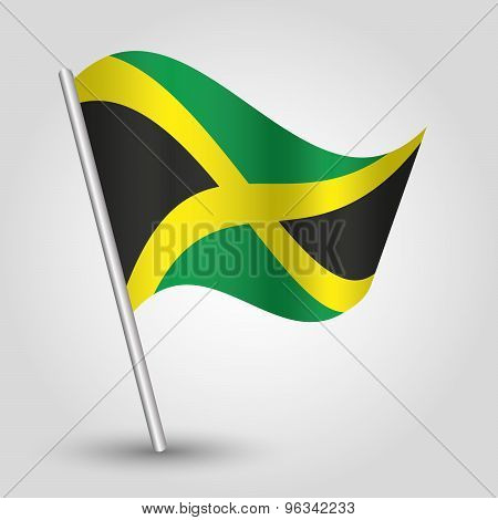 Vector Waving Triangle Jamaican Flag On Pole - National Symbol Of Jamaica With Inclined Metal