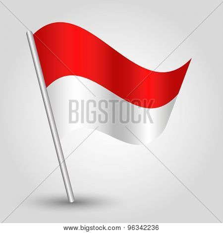 Vector Waving Triangle Flag On Pole - National Symbol Of Monaco With Inclined Metal Stick