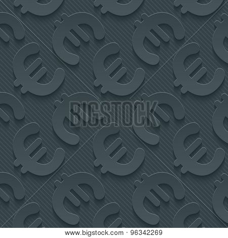 Dark gray currency symbols wallpaper. 3d seamless background. Vector EPS10.