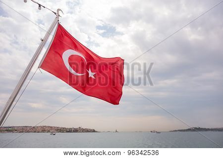 Turkish Flag In The Bosporus Strait