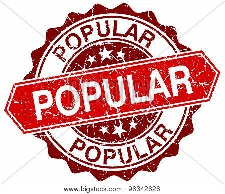 Popular Red Round Grunge Stamp On White