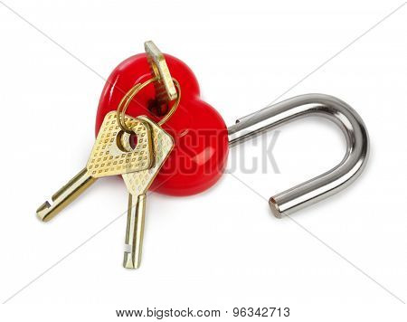 Heart shaped lock and keys isolated on white background