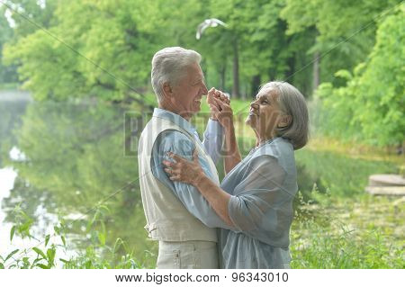 Mature couple  dancing in summer park
