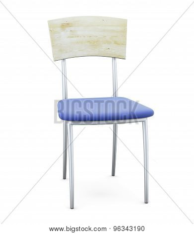 Blue Chair With Chrome Legs And Wooden Back