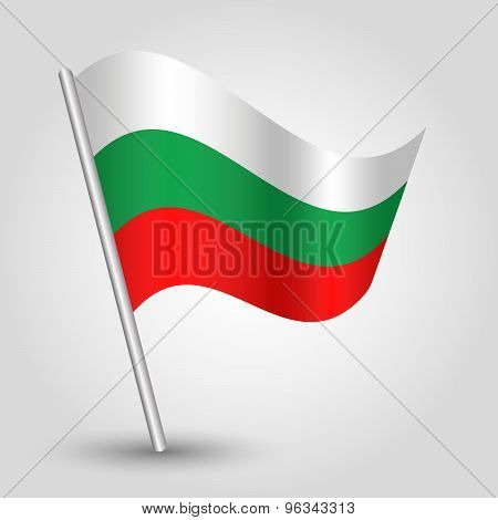 Vector Waving Triangle Bulgarian Flag On Pole - National Symbol Of Bulgaria With Inclined Met
