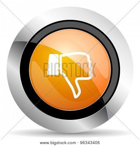 dislike orange icon thumb down sign