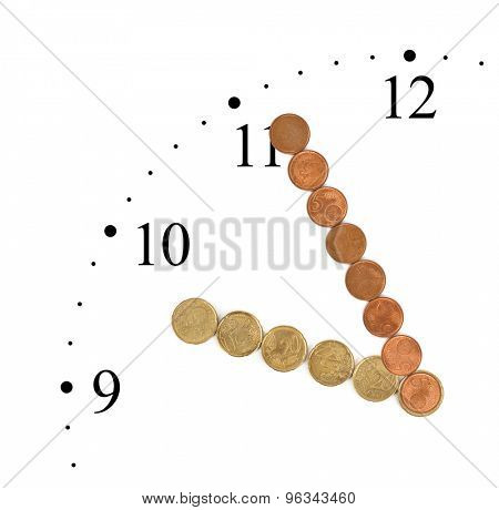Clock made of money coins isolated on white background