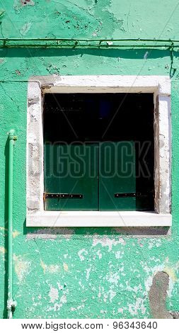 Green Window And White Frame