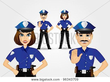 confident policeman and policewoman