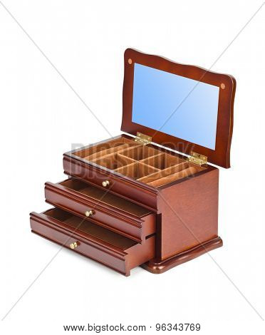 Wooden casket box isolated on white background