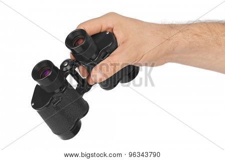 Hand with binoculars isolated on white background