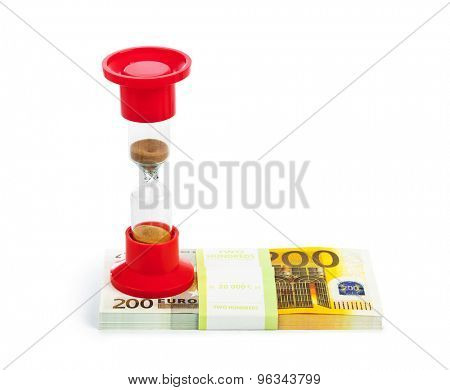 Hourglass and money - business concept isolated on white background