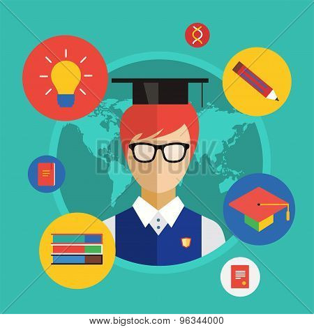 Flat student for school vector illustration. Science objects, or University and College symbols. Sto