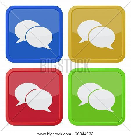 Four Square Icons With Speech Bubbles