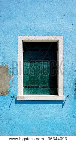 Window In Burano On Blue Decay Wall