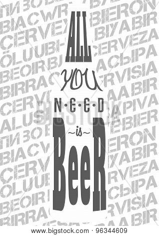 poster art concept with titlyng All you need is beer.