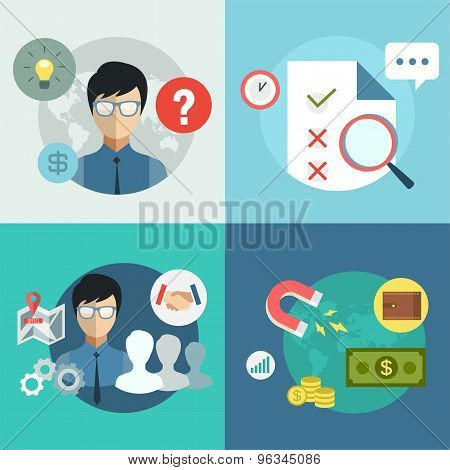 Startup business creation infographic. Command, money, idea and work with new team. Vector stock ill