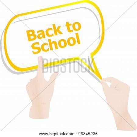 Back To School. Design Elements, Hands And Speech Bubbles Isolated On White, Education Concept