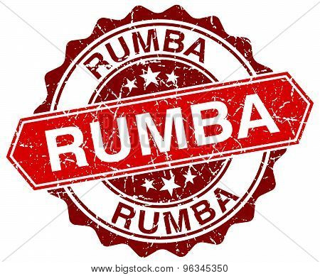 Rumba Red Round Grunge Stamp On White
