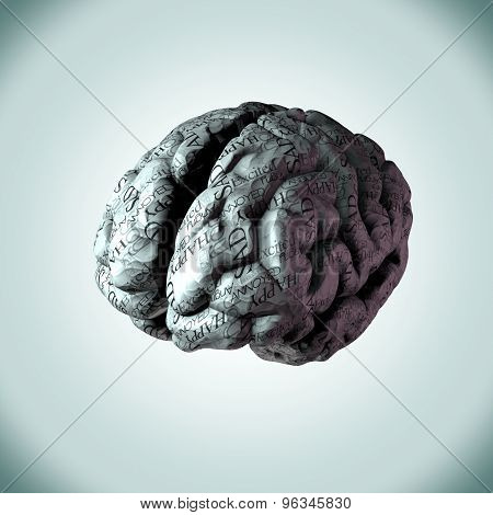 Human Brain Wrapped In The Common Everyday Emotions A Person Would Feel.