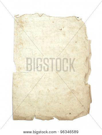 old parchment on white background.