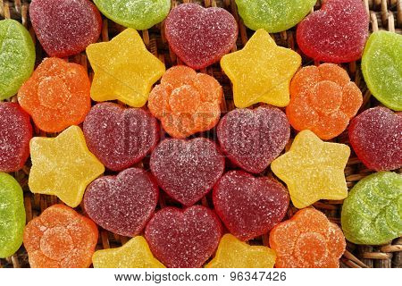 Gummy candies close up