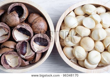 Top View Macadamia Nuts And Shell In Wooden Bowl
