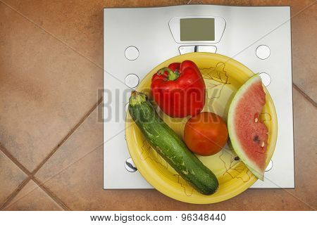Personal scale in the bathroom. The concept of diet and weight control.