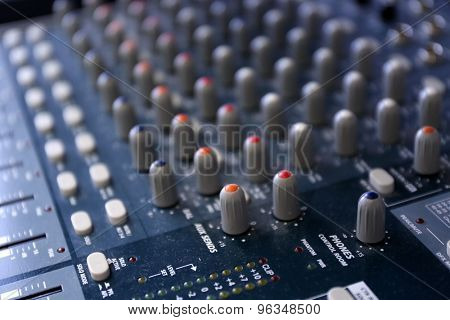 sound music mixer control panel close up