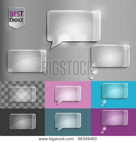 Rectangle set of glass speech bubble icons with soft shadow on gradient background . Vector illustra