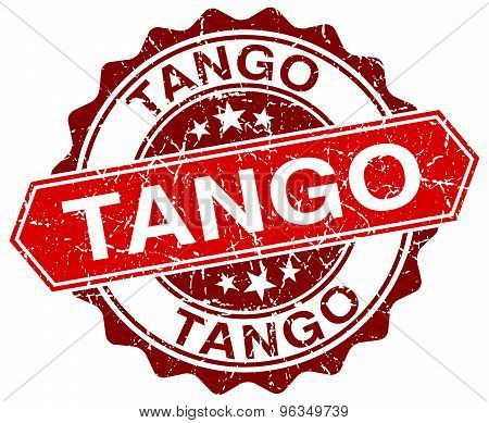 Tango Red Round Grunge Stamp On White