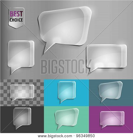 Rectangle and square set of glass shape speech icons with soft shadow on gradient background . Vecto
