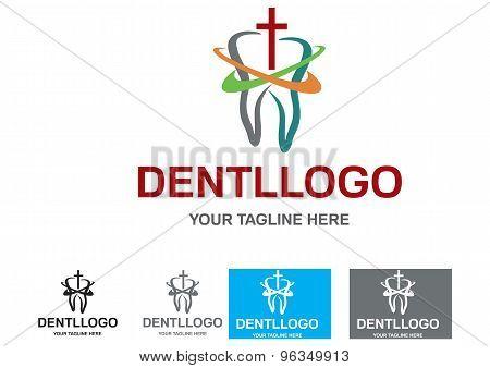 Illustration of dental logo design isolated on white background.