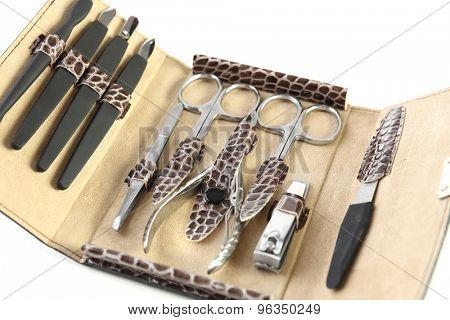 Manicure set in open case, closeup