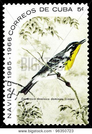 Vintage  Postage Stamp.  Yellow-throated Warbler.