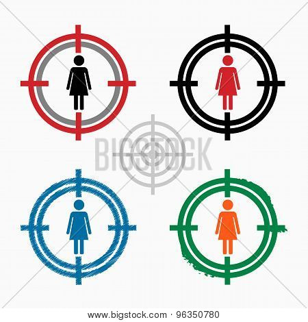 Woman Icon On Target Icons Background