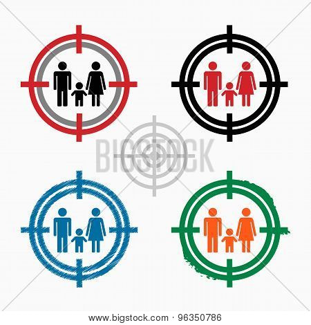 Family Icon On Target Icons Background