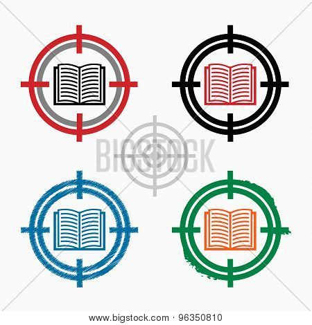 Book Icon On Target Icons Background