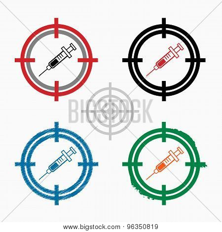 Syringe Icon On Target Icons Background