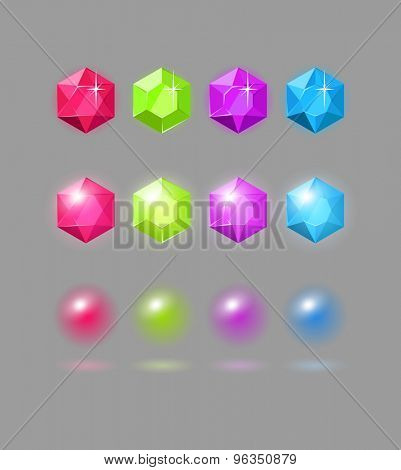 Vector set of colorful gems, design elements for casual match3 games, eps10