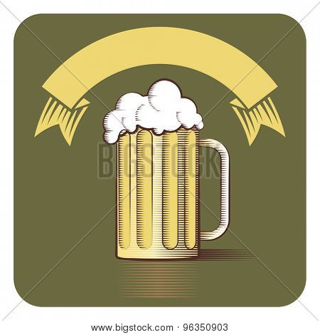 Vector icon of beer mug and ribbon with copy-space in engraved style on vintage green background