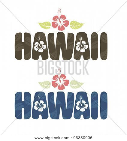 Vector illustration of Hawaii word with tropical hibiscus flowers in vintage colors